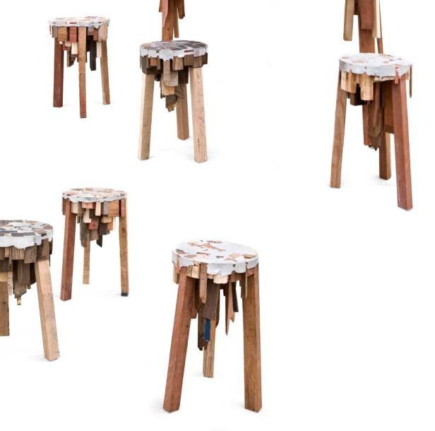 PEPE HEYKOOP (NÉ EN 1984) Prototype Suite De Six Tabourets Bits Of Wood  Divers