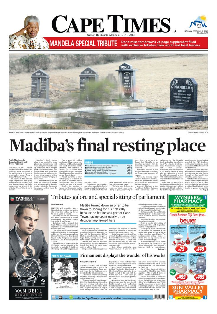 News making headlines: Madiba's final resting place