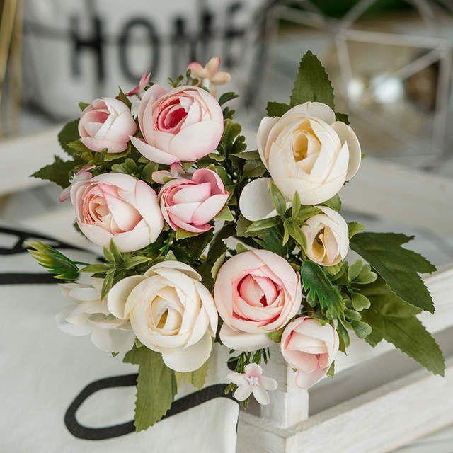 Online Shop 28cm 11in Rose White Silk Camellia Artificial Flowers Bouquet 10 Big Head Che Artificial Bouquet Artificial Flower Bouquet Home Wedding Decorations