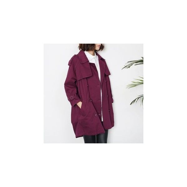 Double-Breasted Trench Coat ($52) ❤ liked on Polyvore featuring outerwear, coats, women, purple trench coat, purple coats, double-breasted trench coat, double-breasted coat and trench coat