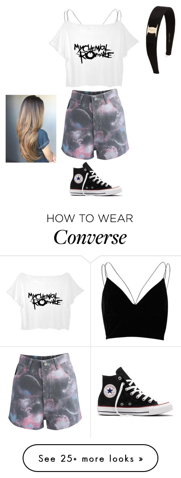 """""""Gabby Anderson"""" by sosfamforlife on Polyvore featuring River Island, Chicwish, Converse and Salvatore Ferragamo"""