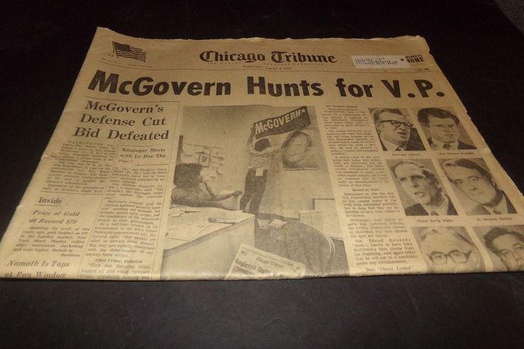 Vintage Chicago Tribune McGovern Hunts for VP Joe Nameth Comics Chargers Cubs 72