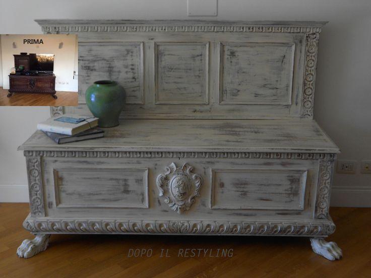 Cassapanca stile Rinascimento con un restyling shabby.  L'Atelier dei miei Sogni ( Liana Morano ...