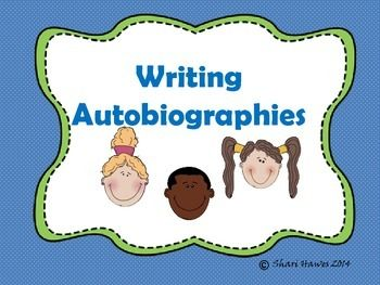 Enjoy this writing autobiographies freebie. This is intended to be an introductory lesson to be used with a projector or smart board.  However, it could be printed and used as anchor charts. Included in this packet:-Autobiography introduction for smart board-homework sheet-First draft -Final draft-student sample