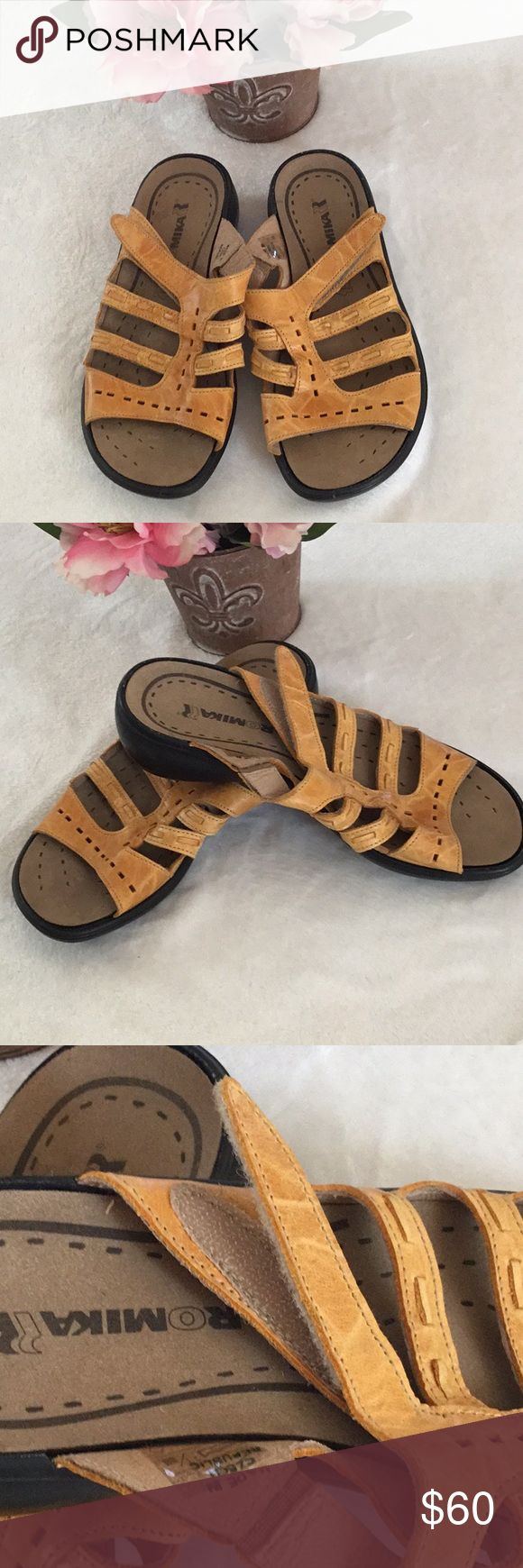 ROMIKA Yellow Leather Slide In Sandals Super comfortable Romika Sandals. Excellent Condition! Features: ⚜️Upper Leather ⚜️Made in Czech Republic ⚜️1.25 Heel ⚜️Man made outsole Romika Shoes Sandals