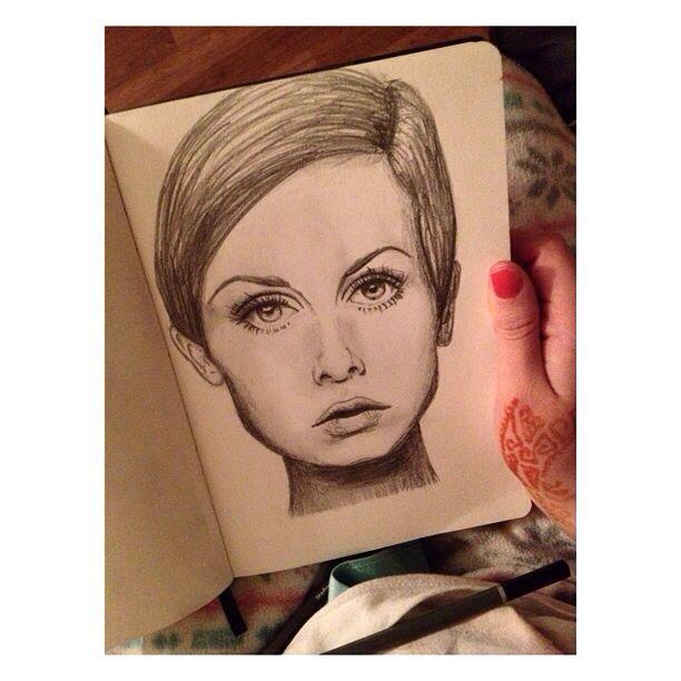 Pencil drawing I did of Twiggy