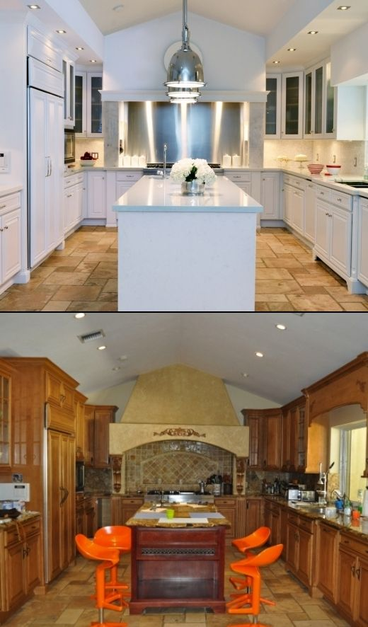 Before/After: designer Pilar Larraz; Florida w/$30K budget. Thinned down heavy, dated molding b4 replacing mishmash of doors w/matching solid ones below & frosted glass on top. Painted everything  BM Decorators White. New soffit hides new recessed halogen lighting overhead. Awkward hood replaced w/drywall to complement & accentuate ceiling pitch. Polished nickel pendants over new island. All countertops & backsplash are white Compac quartz, which resembles Carrara marble without added cost.