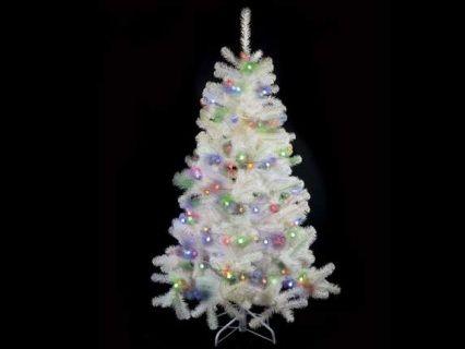 Albero di Natale abete pino artificiale bianco con 567 rami e 240 luci multicolor. Altezza 180 cm e base d'appoggio in metallo  Misure: Ø 106 cm x 180 H Materiale: Plastica