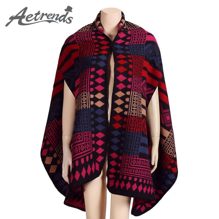 Winter Blanket Poncho with Sleeve Plaid Cashmere Cape Pashmina Scarves $22.28 => Save up to 60% and Free Shipping => Order Now! #fashion #woman #shop #diy www.scarfonline.n...