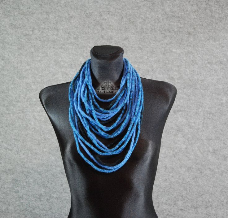 Denim blue scarf, Denim blue necklace, Fiber art necklace, Felt necklace, Collar, Bohemian, Knit, Rope scarf, Textile, scarf, necklace by aboutCRAFTS on Etsy