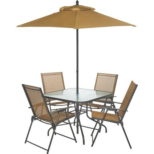 the folding patio set includes chairs table umbrella features steel construction powder coat finish planter hole insert cover
