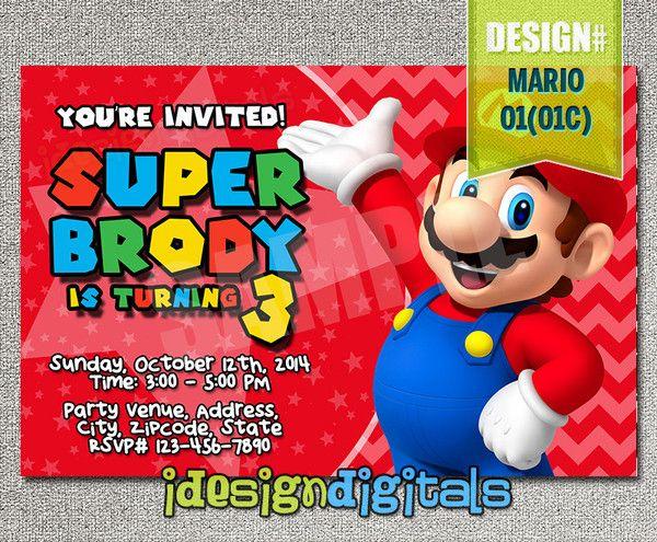 BOYS Mario Birthday Photo Invitations- Mario Brothers Birthday Party - photo invite (6x4 or 7x5)