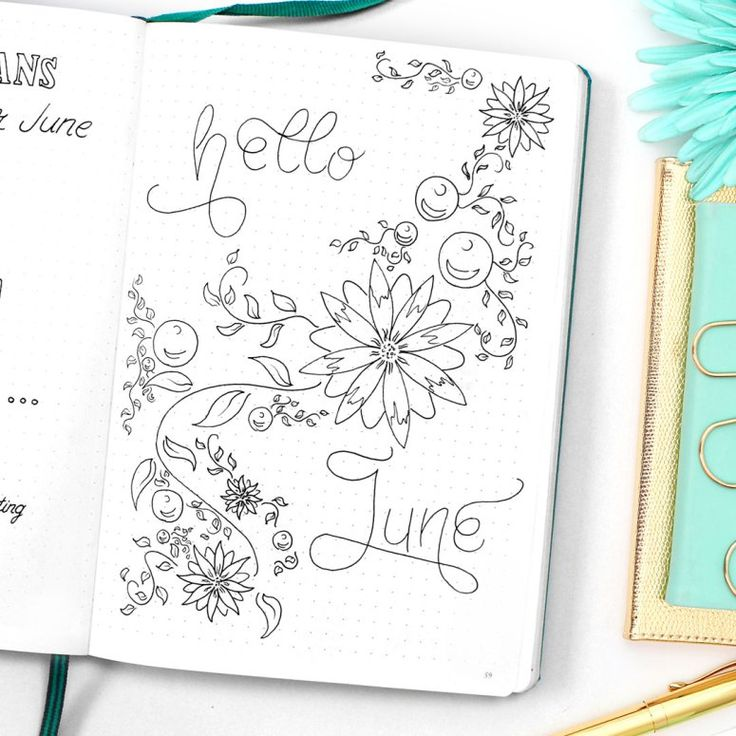 HELLO JUNE  Then the real fun starts! I like to really get my creative juices flowing while setting up a new month. That way I already took some time off for myself to relax and just draw, no matter how busy the month will get later on. Setting up a 'hello month' spread was high up on my bullet journal goals list, but I always missed the date. This month I decided to not care and welcome the June no matter what date it is! And let's be honest the middle of June is as beautiful as it's…