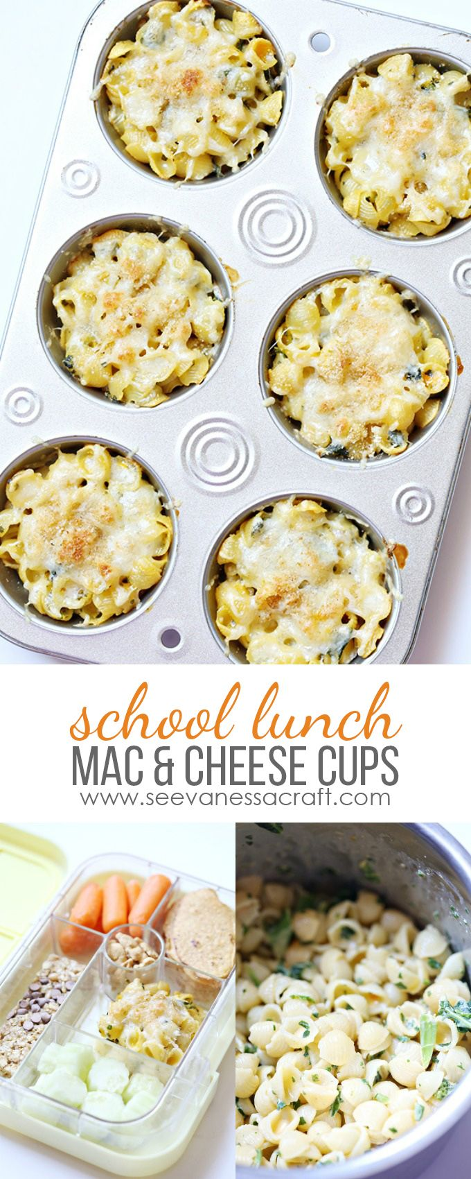 Kale and Spinach Mac and Cheese Cups for Kids