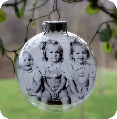 clear glass ornaments with old family photos