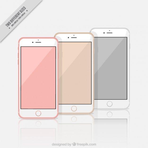 Background of three stylish iphone 7 Free Vector
