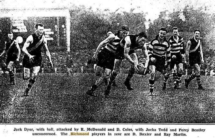 Jack Dyer of Richmond, playing against Geelong in the 1934 semi final. Richmond won and went on to be premiers.