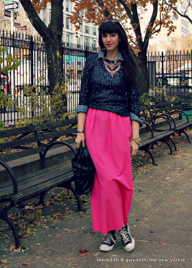 j crew sequin and pink maxi skirt statement necklace