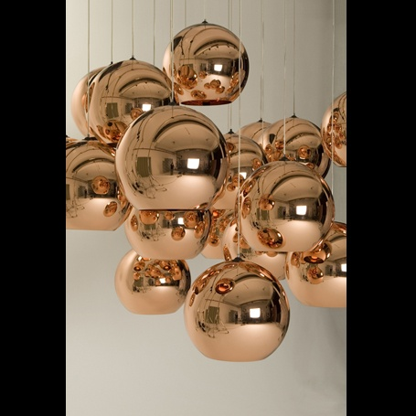 awesome copper lighting, would look really good over island or table