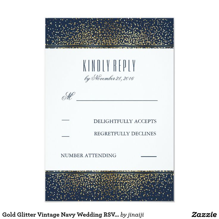 Gold Glitter Vintage Navy Wedding RSVP Cards navy wedding reply cards with gold glitter or faux gold foil confetti dots.