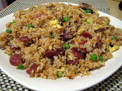 Authentic Chinese Pork Fried Rice | salt pork roast pork chinese sausage shredded carrots peas egg