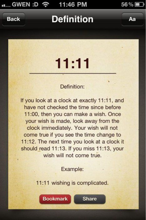 I never thought it was that complicated....... My whole life has been a lie! My 11:11 wishing ritual has now changed.