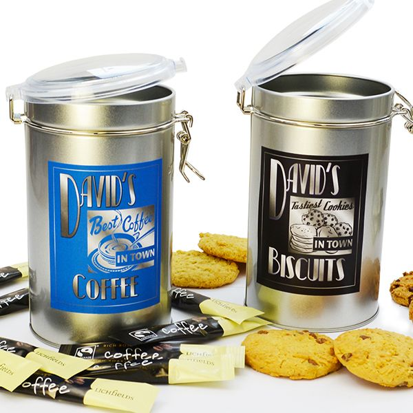Top 5 Personalised Gift Ideas for a Foodie - Personalised Pair of Coffee and Biscuit Storage Tins