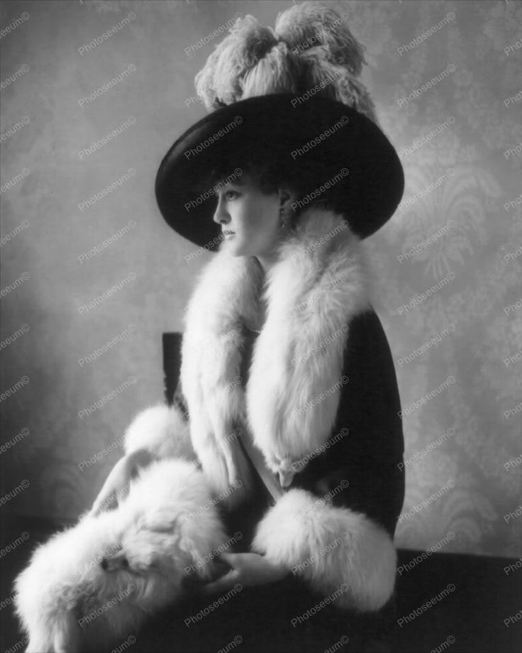 Lady Dressed In Furs and Large Hat 1900s 8x10 Reprint Of Old Photo