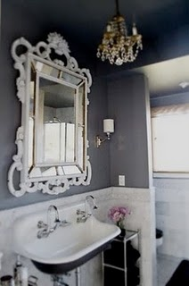 this bathroom is perfect. I want a pedestal sink so badly!