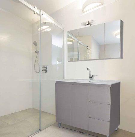 έπιπλο μπάνιου σε κόντρα πλακέ θαλάσσης, μήκος 100 εκ, και νιπτήρα πορσελάνη, κωδικός 0009