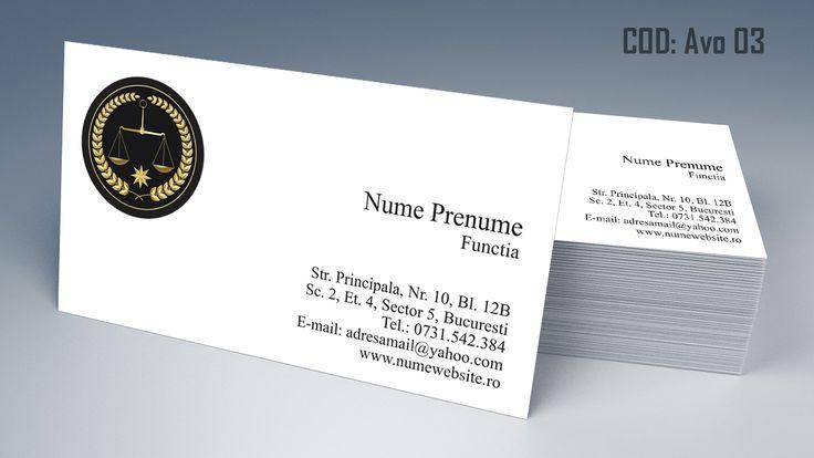 Carti de vizita avocat - modele online gratis - cod AVO 03, printate color fata sau fata-verso. Tiparim carti de vizita atat pentru cabinet de avocat cat si pentru cabinet notarial, juristi sau avocati stagiari. Lawyer, law, attorney business cards templates