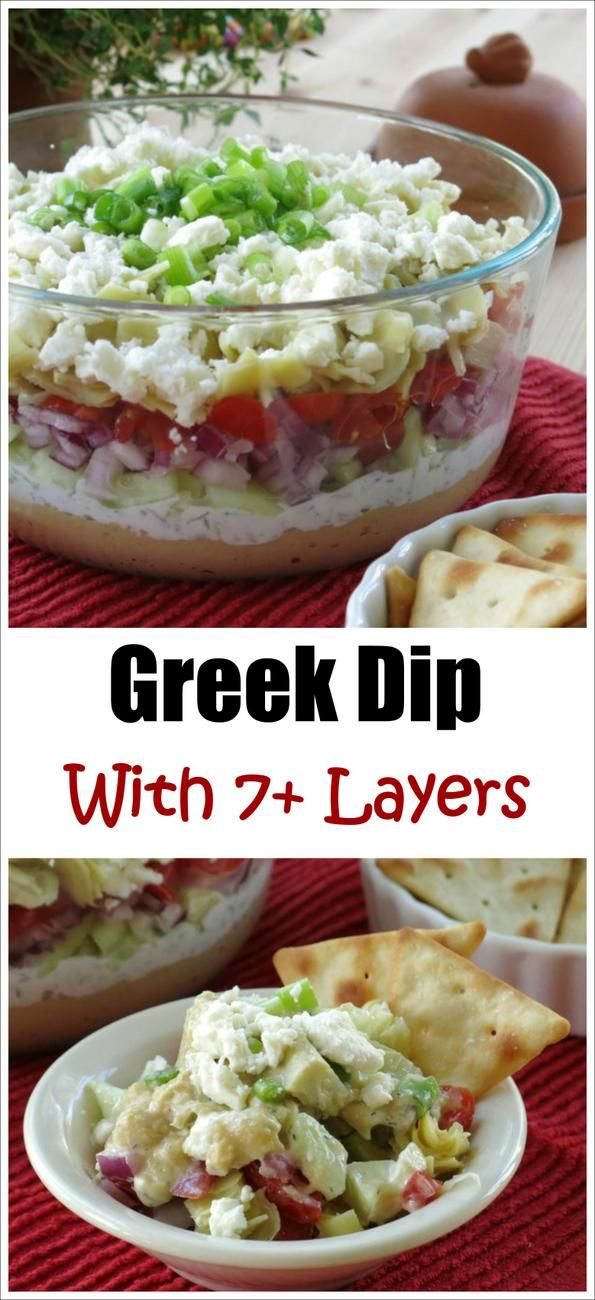 Easy 7 Layer Greek Dip Recipe with hummus and Tzatziki sauce and feta ...
