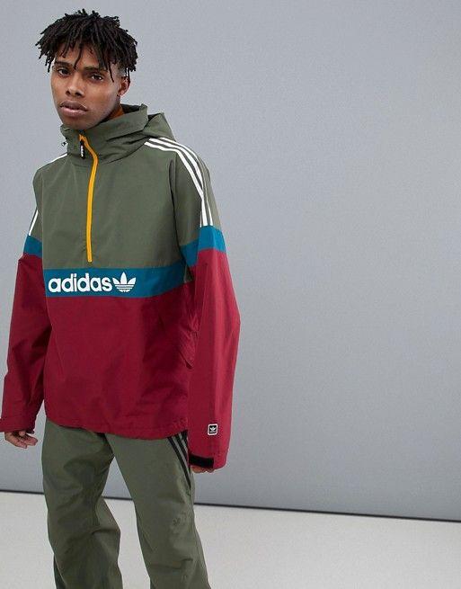 adidas Snowboarding BB Snowbreaker Jacket in RedGreen in