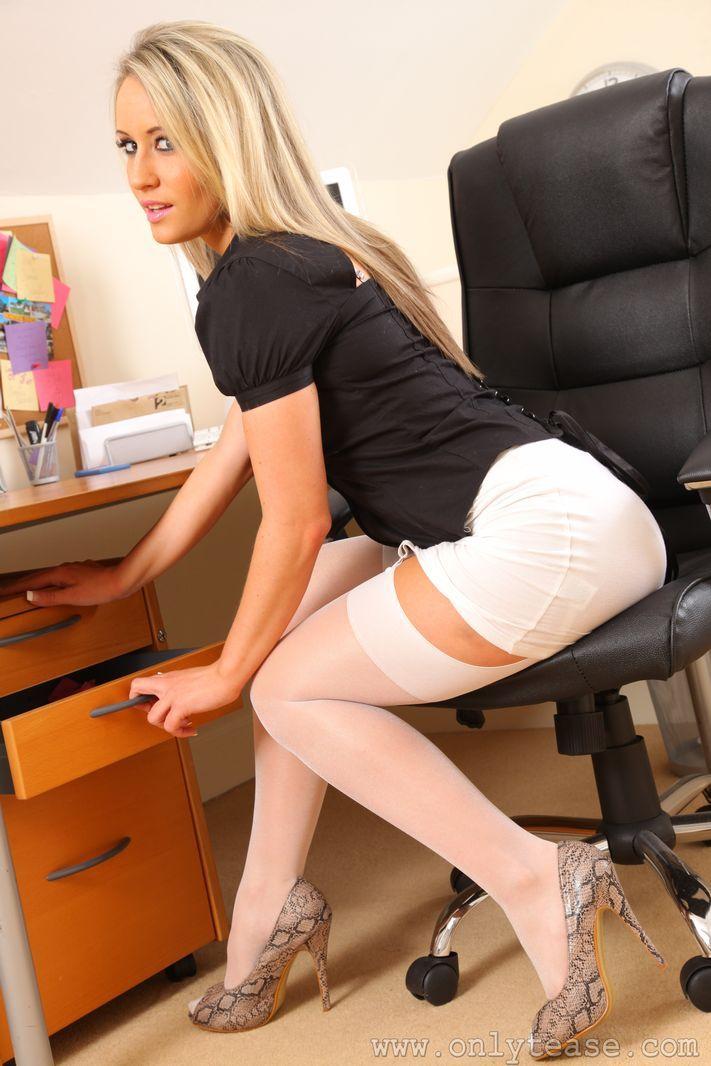 Secretary short skirt high heels