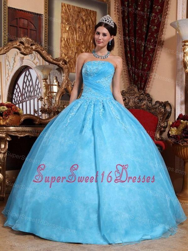 Aqua Blue Sweet 16 Quinceanera Dress Strapless Organza Appliques Ball Gown