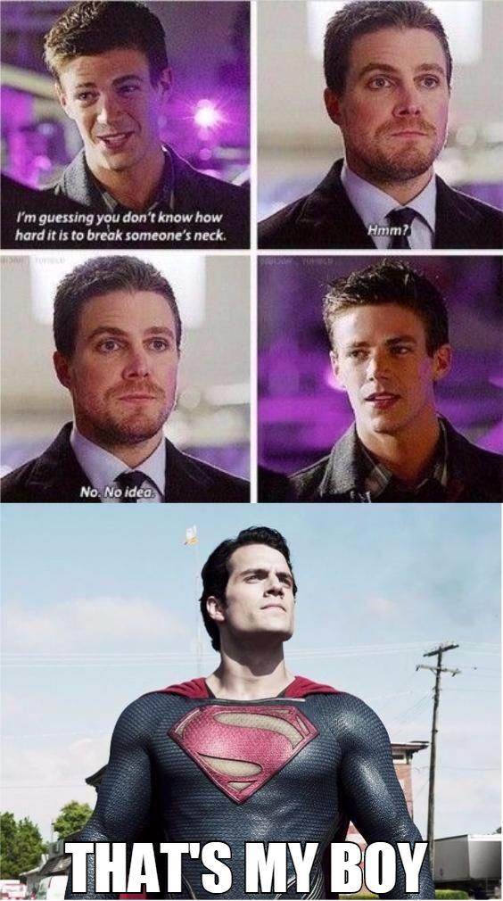 Grant Gustin. Barry Allen. Flash. Stephen Amell. Oliver Queen. Green Arrow. Henry Cavill. Clark Kent. Superman.