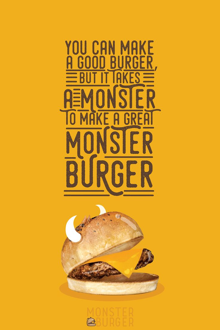 Logo, visual identity and packaging for Monster Burger Restaurant.