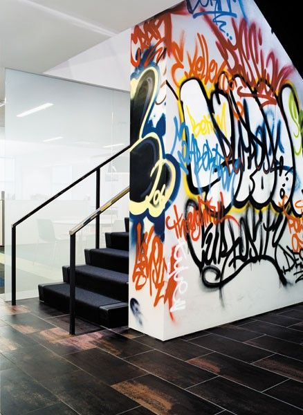 """#Graffiti interior wall   idea @Jan Wilke Hayden Newman  how about a NewYork Broadway Graffiti theme... (maybe smaller scale) on a wall going into your sewing area?   New York Stage, """"the basement""""   :)"""