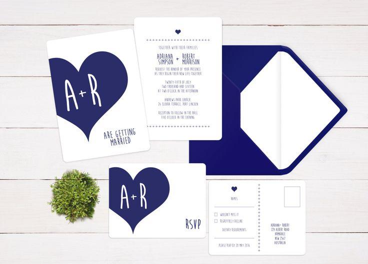 Navy Wedding Suite - Navy Invitation Suite - Navy Invite Suite - Navy Wedding Invitation - Navy Heart Invite - Navy Blue Invitation