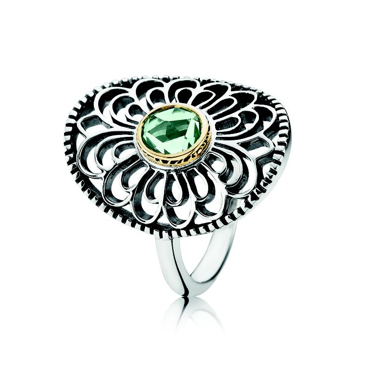 #PANDORA sterling silver ring with 14 carat gold and green gemstone RRP $199