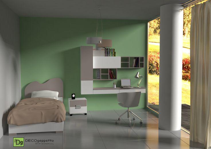 Σύνθεση εφηβικό / παιδικό δωμάτιο σε απόχρωση λευκό και μόκα ( λάκα )