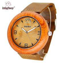 iBigboy Men Wooden Watches Luxury Padauk Wood 12 Hour Analog Japan Quartz Leather Strap Big Women Wristwatch relogio masculino(China (Mainland))