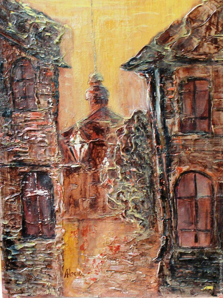Купить Улочки старого города - золотой, городской пейзаж, старый город, улицы города, фонарь