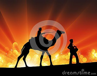 Vector illustration silhouette camel and men music festival party crowd. Isolated on orange and yellow bokeh light background, sun star burst rays over the horizon. Caravan of camels at sunset.