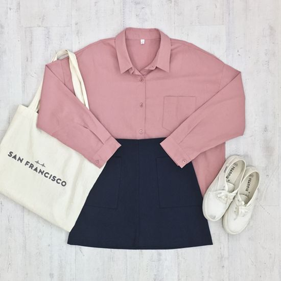Korean Fashion Sets- Late Summer Collection Blue striped t-shirt, Pink buttoned skirt, White sneakers. Grey graphic t-shirt, Pi...
