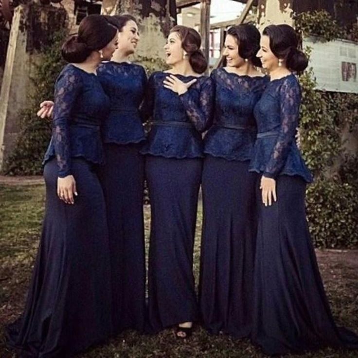 Hot 2016 Long Sleeves Lace Mermaid Bridesmaid Dresses Bateau Floor Length Navy Blue Elegant Plus Size