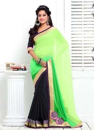 Deepika Singh Lemon Green And Black Georgette With Work Saree