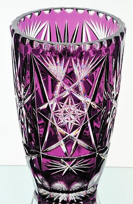 "Large Amethyst Purple Cut to Clear Cased Crystal Vase 10"" Hungary 