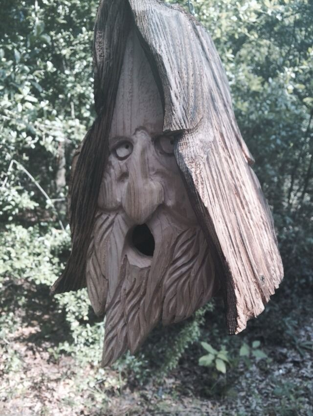 Wood Spirit Unique Old Man Rustic Hand Carved Cedar Bird House Birdhouse | eBay