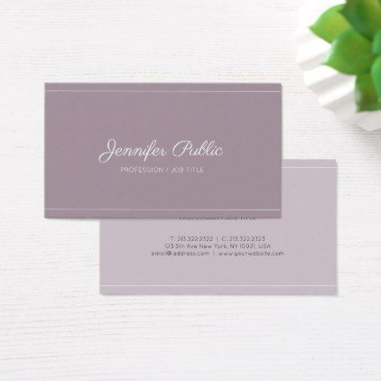 #Modern Chic Design Purple Violet Stylish Plain Business Card - #cosmetologist #gifts #beauty